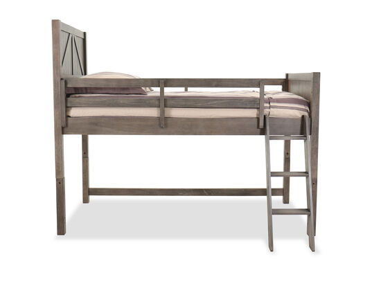 Transitional Youth Twin Mid Loft Bed in Brown