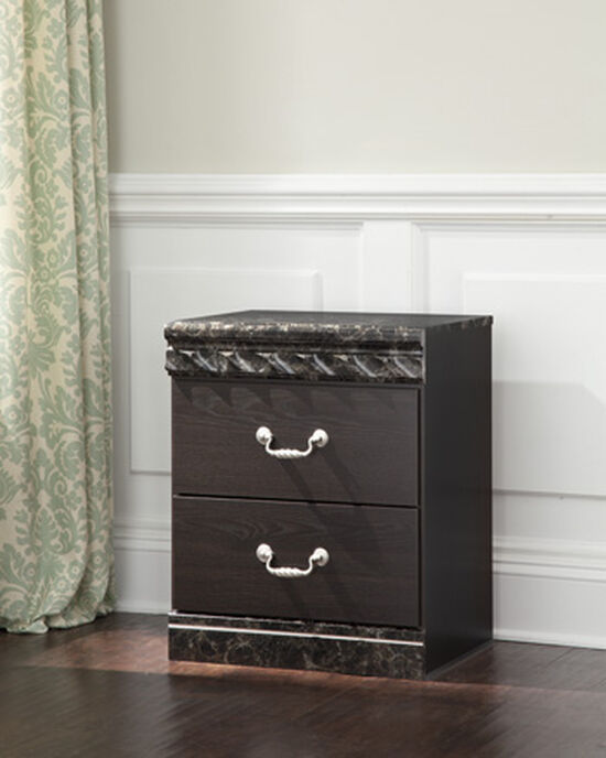 "25"" Traditional Two-Drawer Nightstand in Dark Brown"