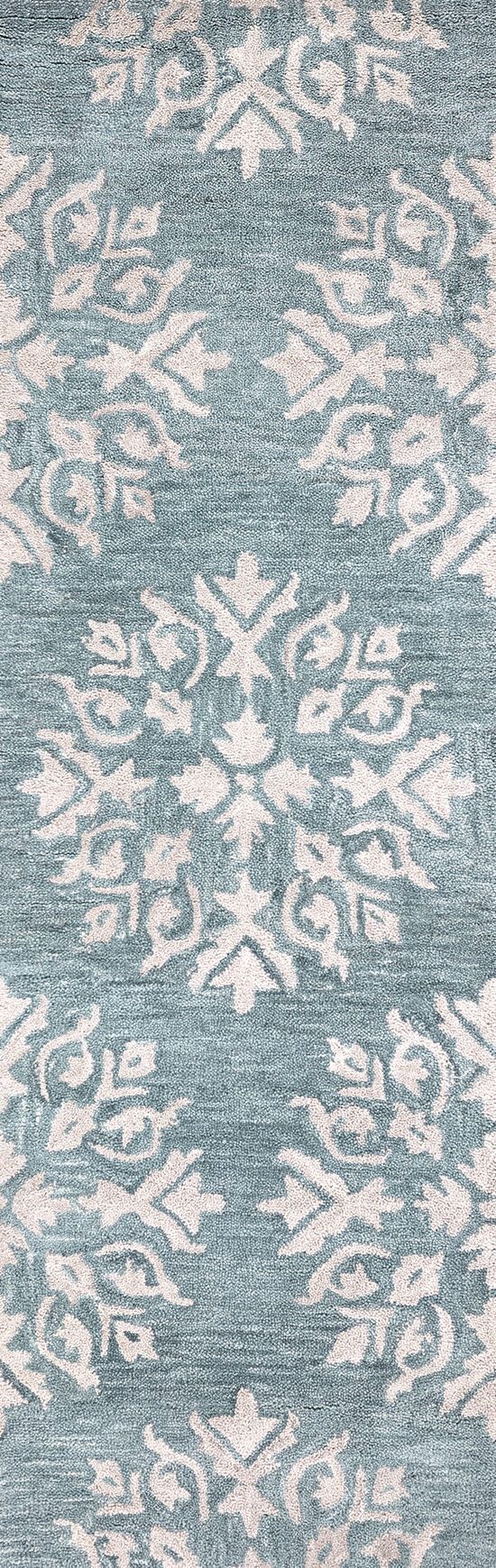 Transitional Hand-Tufted 9' x 12' Rectangle Rug in Aqua / Blue