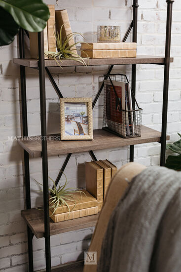 Five-Shelf Contemporary Open Bookcase in Dark Gray