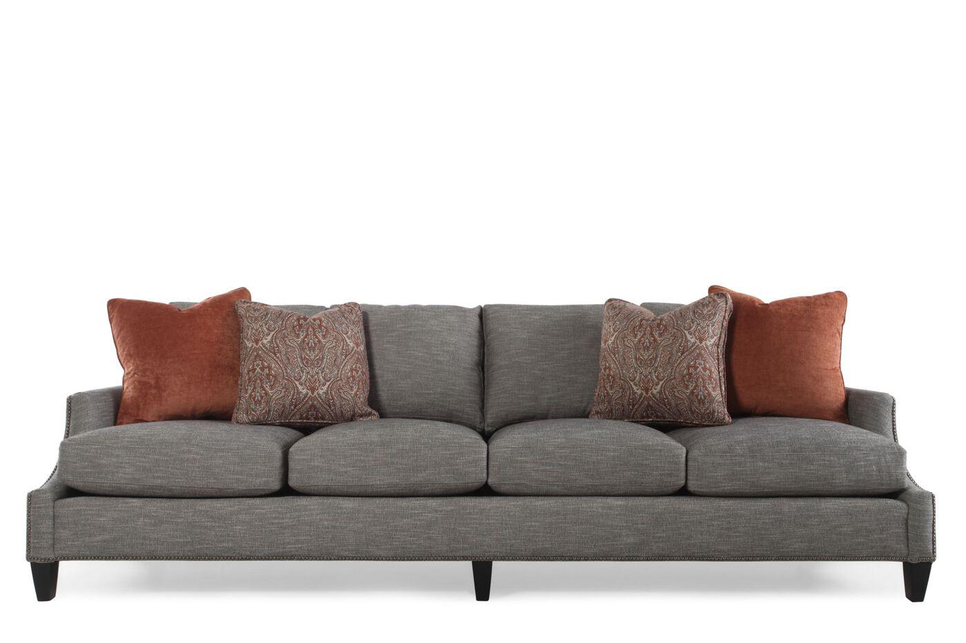 "Bernhardt Four Cushion 108 5"" Sofa in Pearl Gray"
