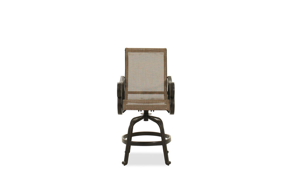 Roll Arm Aluminum Sling Bar Stool in Brown