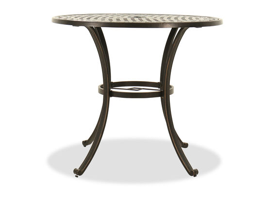 Lattice Designed Transitional Round Bar Table in Black