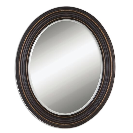 "34"" Beveled Oval Mirror in Oil Rubbed Bronze"