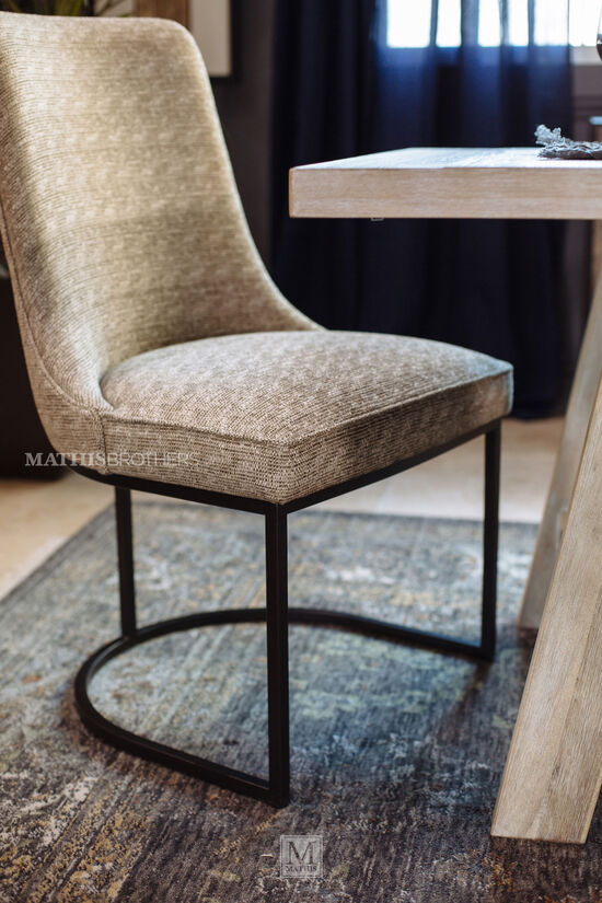 Barrel Back 38'' Dining Side Chair in Beige