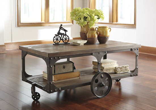 Rectangular Casual Cocktail Table in Gray Brown