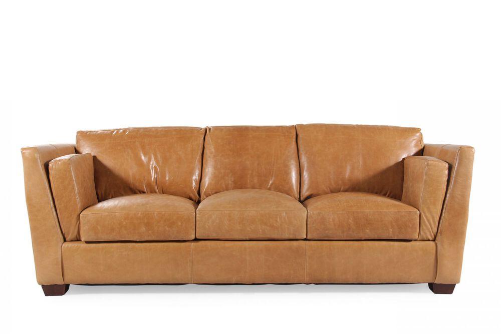 Leather Sofa In Caramel Brown
