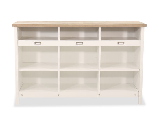 Three-Shelf Traditional Storage Credenza in Soft White