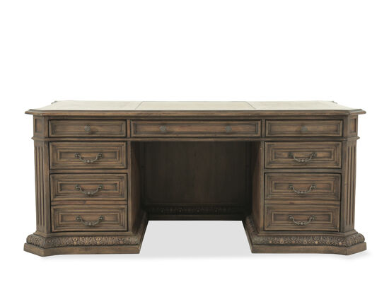 "74"" Traditional Seven-Drawer Executive Desk in Brown"