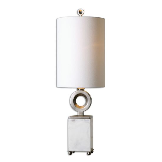 Tall Round Shade Buffet Lamp in White Alabaster