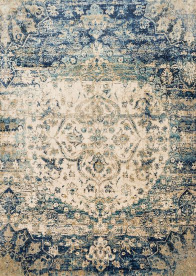 "Transitional 2'-7""x8'-0"" Rug in Blue/Ivory"