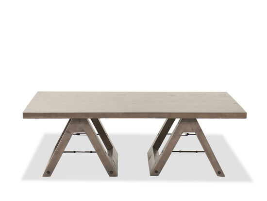 Contemporary Rectangular Cocktail Table in Weathered Gray Pine
