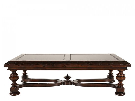 Scrolled Metal-Insert Traditional Cocktail Tablein Brown