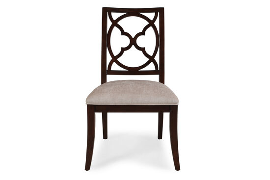 Fretwork Inserted Back 40'' Side Chair in Light Sand