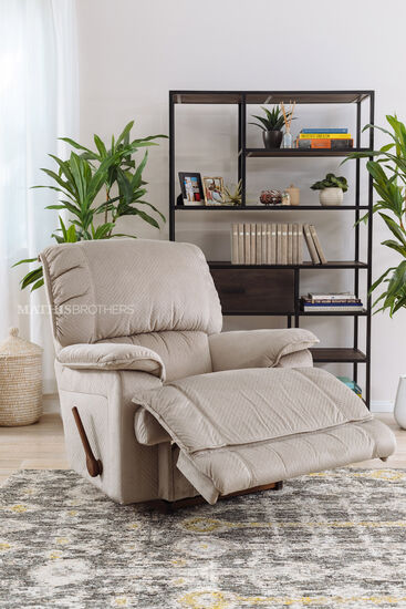 "41"" Contemporary Pillow Arm Rocking Recliner in Beige"