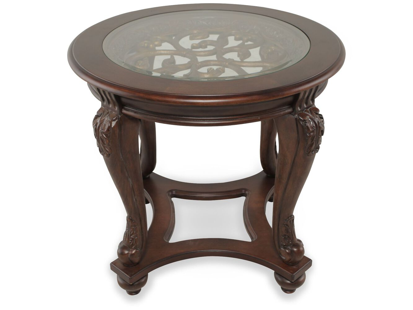 Round beveled glass traditional end table in rich brown - Round glass tables for living room ...