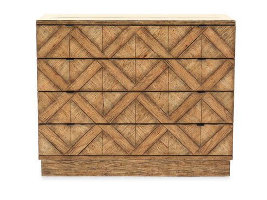 """34"""" Distressed Four-Drawer Bachelor's Chest in Pecan"""