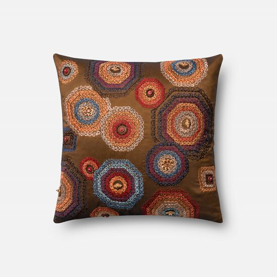 """Contemporary 18""""x18"""" Cover w/Poly Pillow in Multi"""