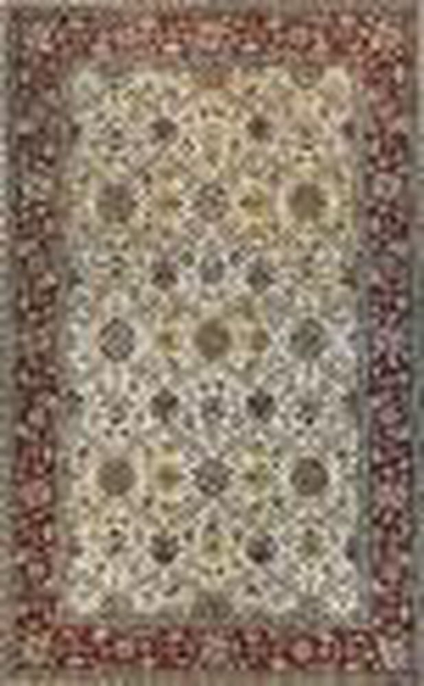 Lb Hand Tufted Wool Ivory Red Traditional Rug Mathis
