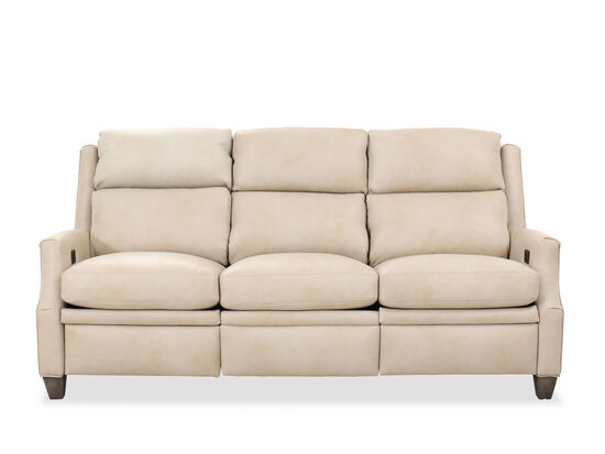 Nailhead-Trimmed Transitional Power Reclining 81'' Sofa in Bisque