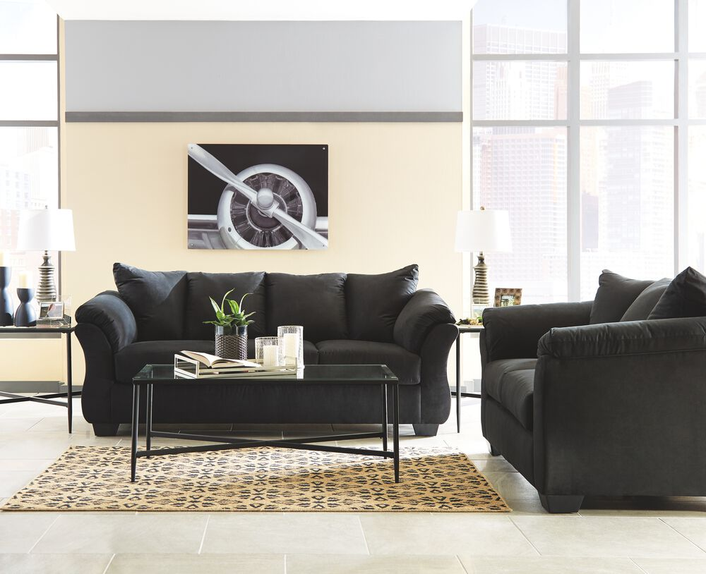 Darcy Black Sofa, Loveseat & Augeron Table Set  Mathis Brothers