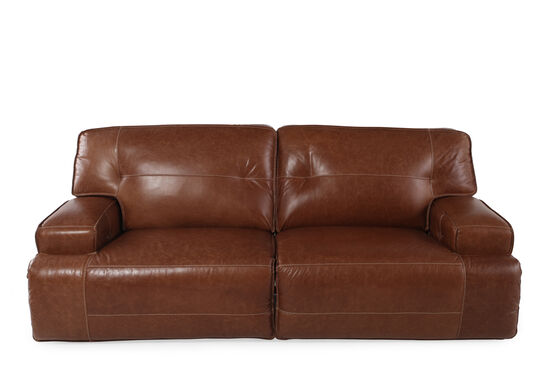"""Leather 95"""" Power Reclining Sofa in Caramel Brown"""