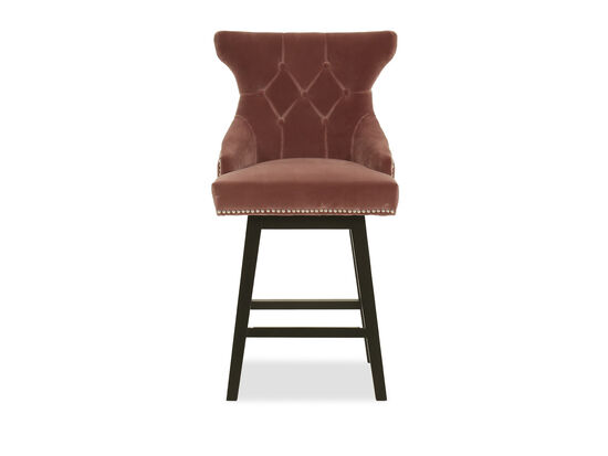 Contemporary Button-Tufted Wingback Bar Stool in Brown