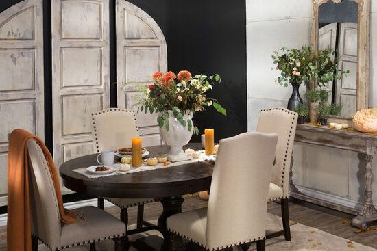 "Traditional 66"" Pedestal Dining Table in Dark Espresso"