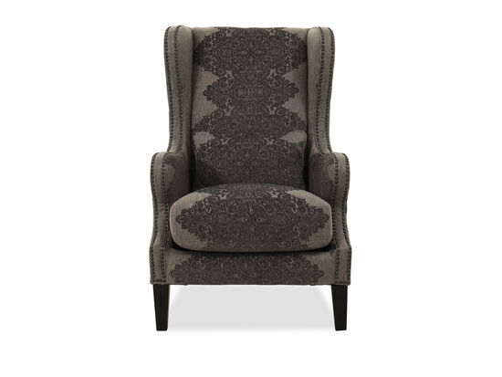 Nailhead-Accented Contemporary Wingback Chair in Gray