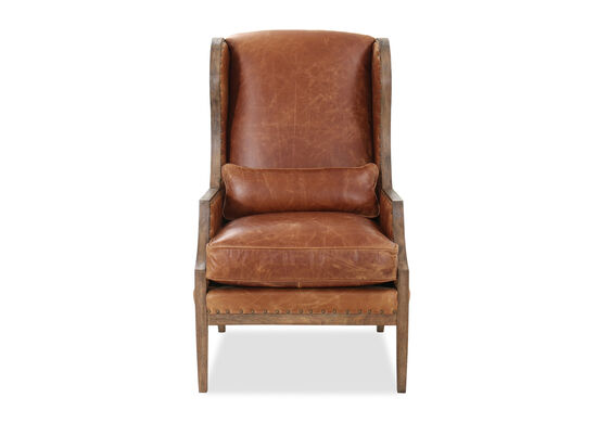 Nailhead-Trimmed Leather 28'' Club Chair in Antique Hickory
