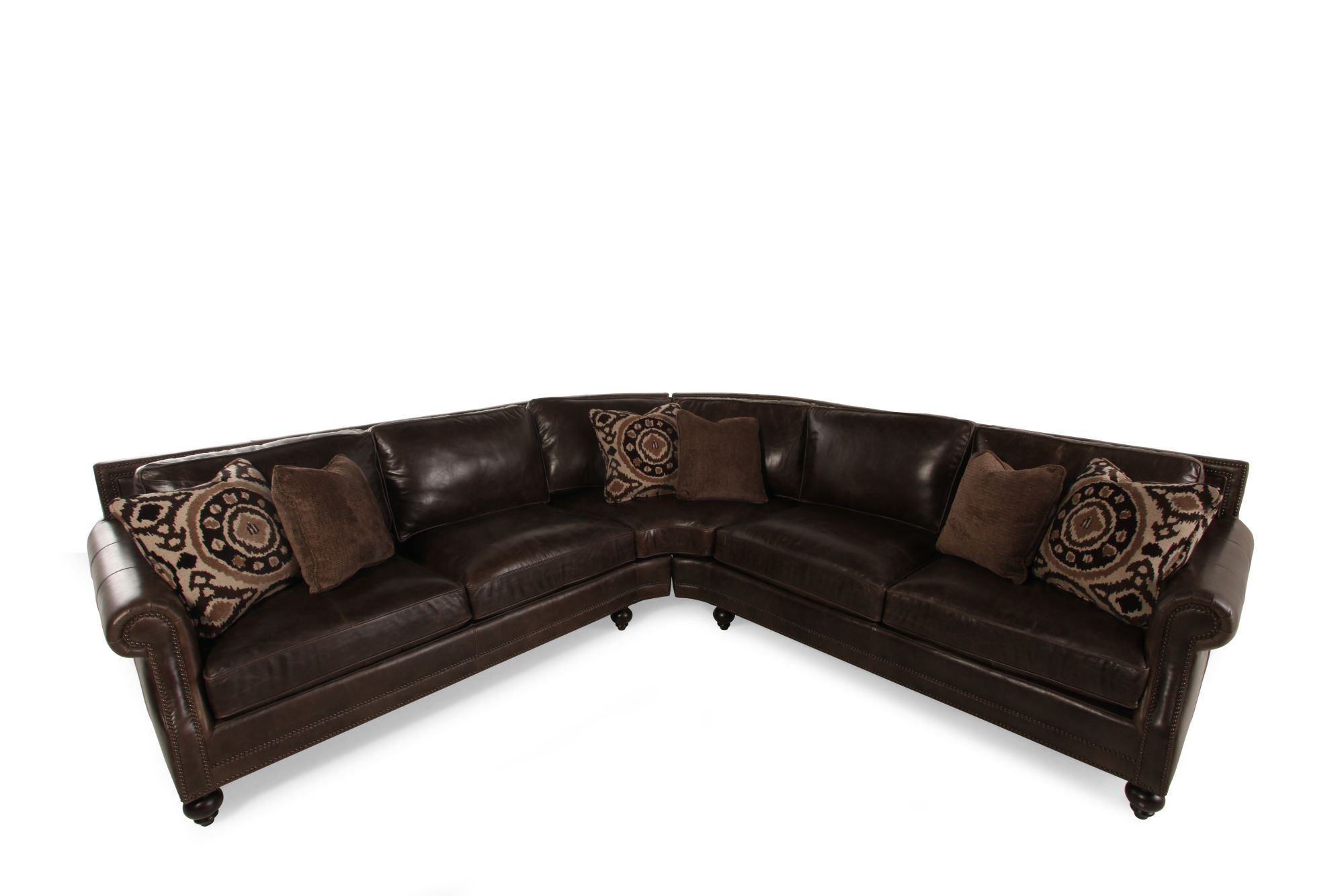 Bernhardt Brae Two-Piece Leather Sectional  sc 1 st  Mathis Brothers : bernhardt sectional leather - Sectionals, Sofas & Couches