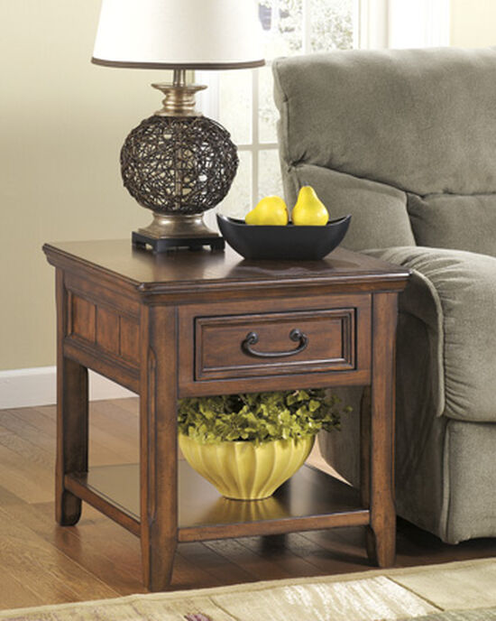 Casual Rectangular One-Drawer End Table in Dark Brown