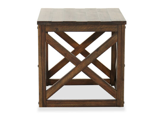 Contemporary Square End Table in Rustic Burley