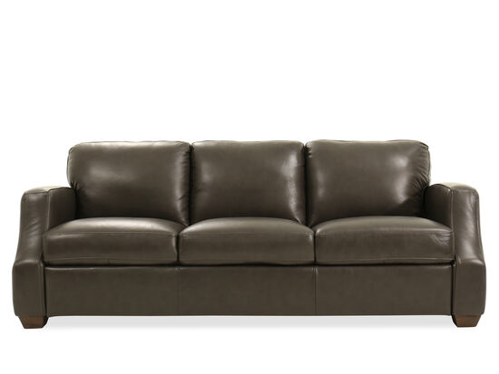 "89"" Leather Sofa in Gray"