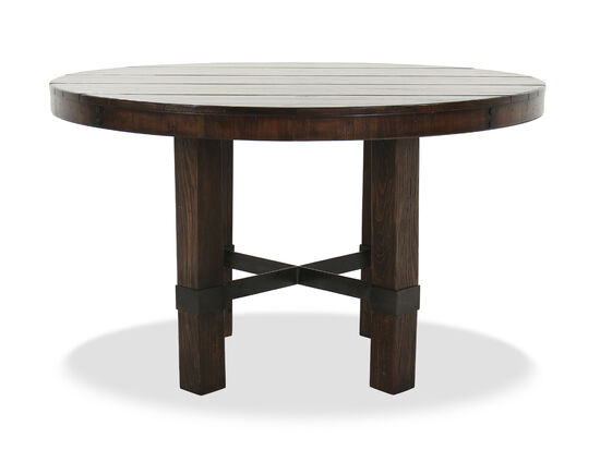 "Casual 60"" Stretcher Base Dining Table in Dark Walnut"
