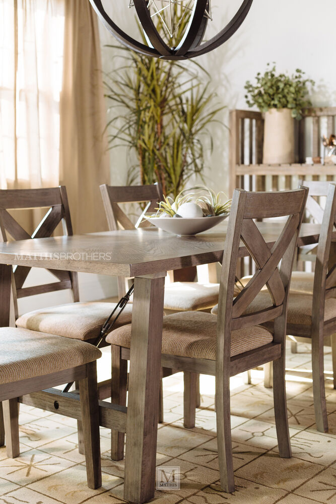 Seven piece industrial dining set in warm brown mathis for 7 piece dining room sets under 1000