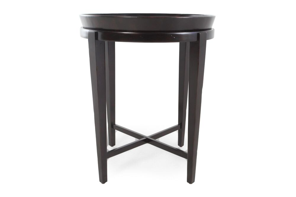 Round Contemporary Drink Table in Peppercorn