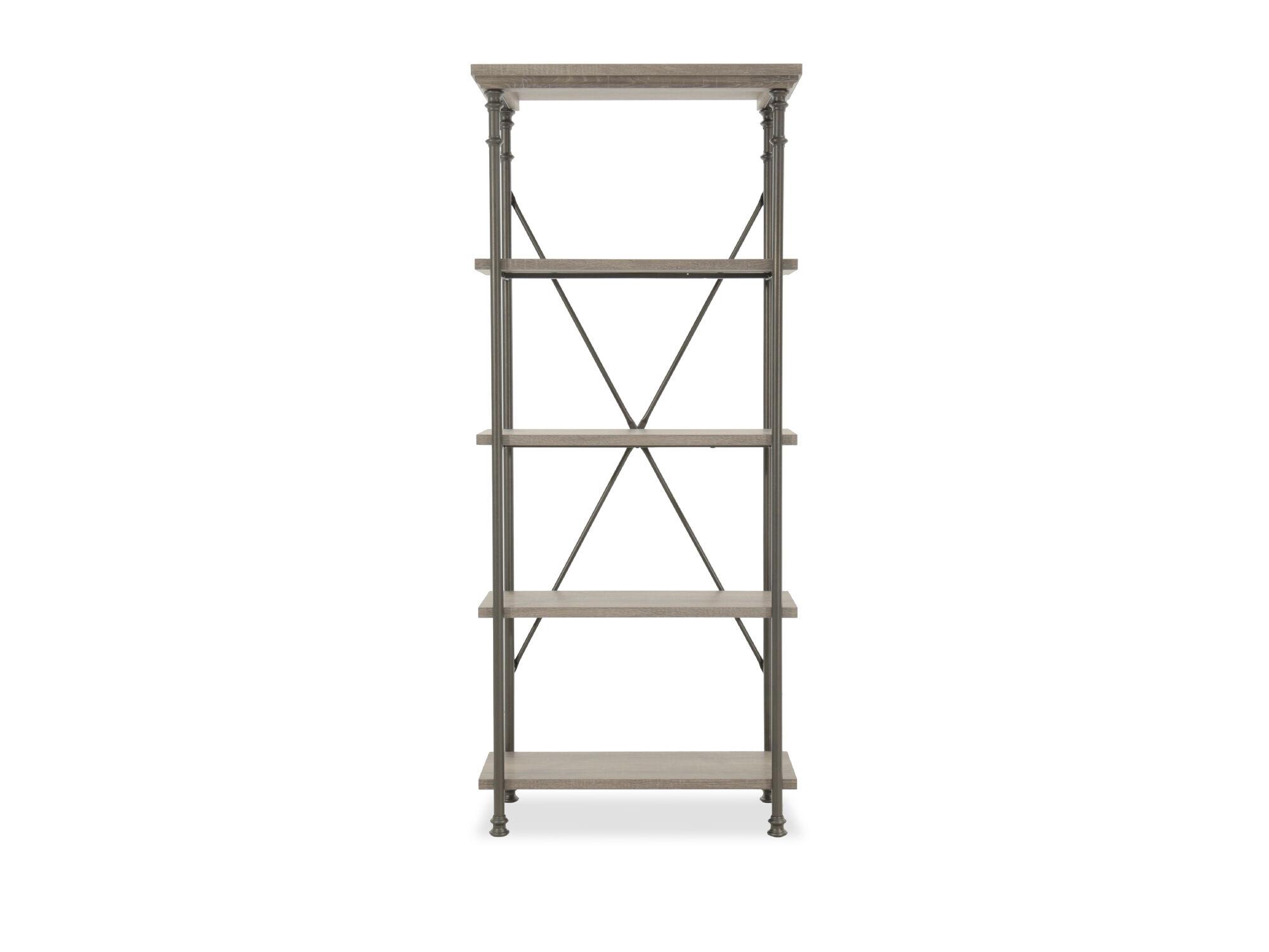 Five Shelf Contemporary Open Bookcase In Dark Gray