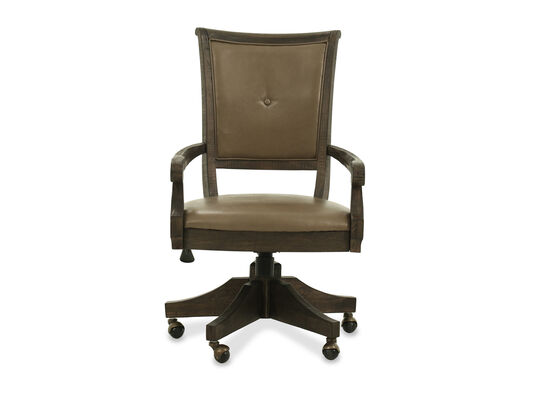 Solid Wood Swivel Chair in Dark Brown