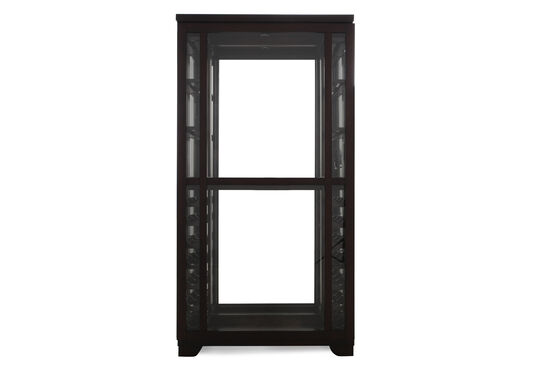 Sliding Front Contemporary Wine Curio in Dark Espresso