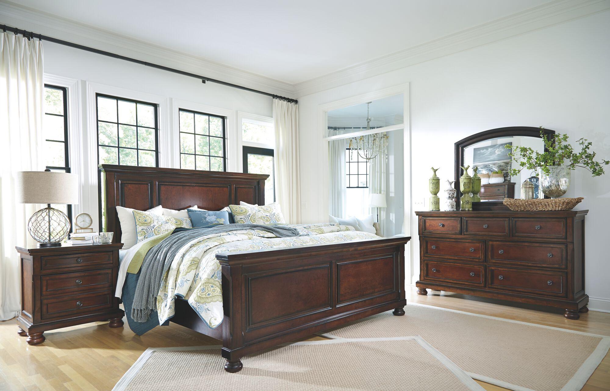 Porter Rustic Brown 6 Pc Dresser Mirror Queen Panel Bed Nightstand Mathis Brothers Furniture