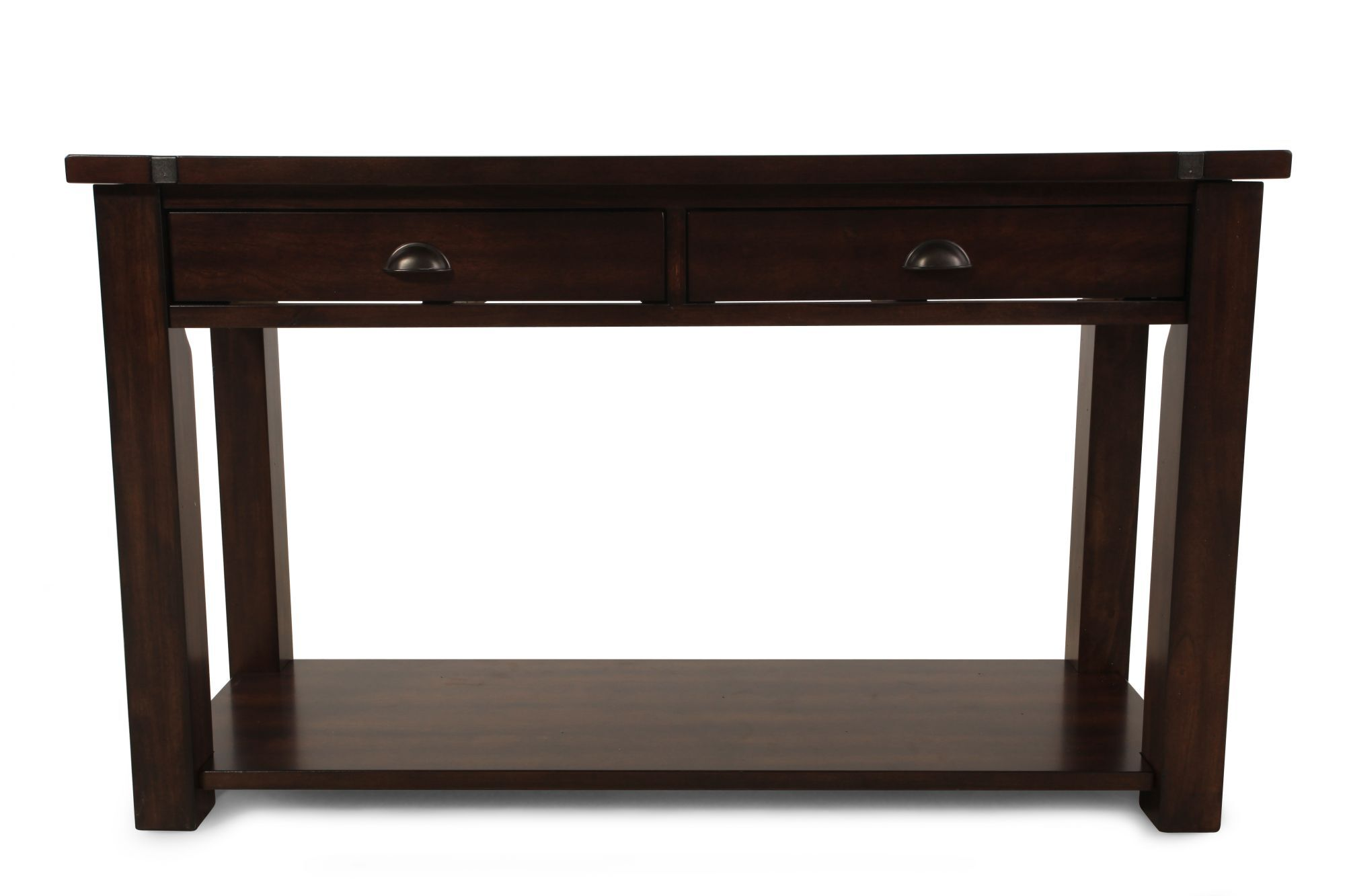 Two-Drawer Contemporary Sofa Table in Brown | Mathis Brothers Furniture