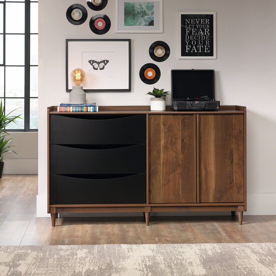 Casual Flip Up Drawer Entertainment Credenza in Dark Wood