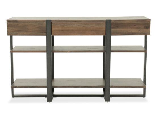 Two-Open Shelf Industrial Sofa Table in Rustic Honey