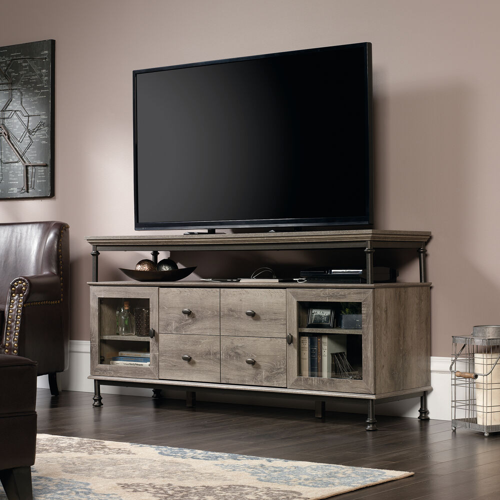 Framed Glass Door Contemporary Entertainment Credenza With