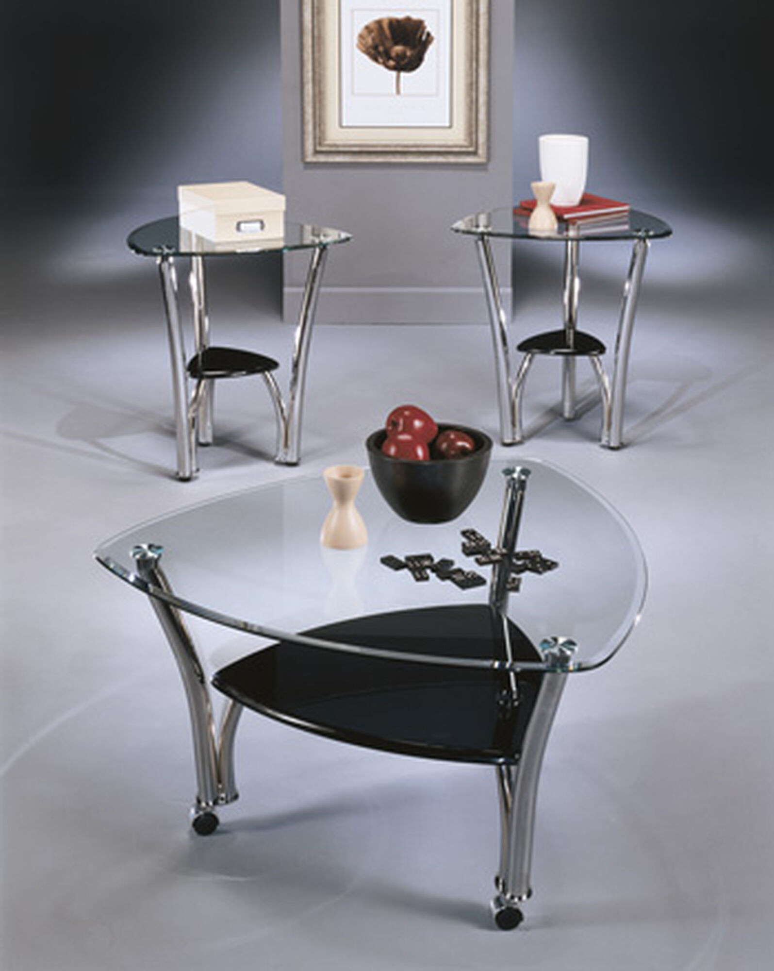 Three Piece Contemporary Accent Table Set In Silvert