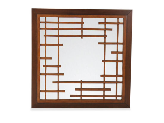 "47"" Contemporary Square Mirror in Brown"