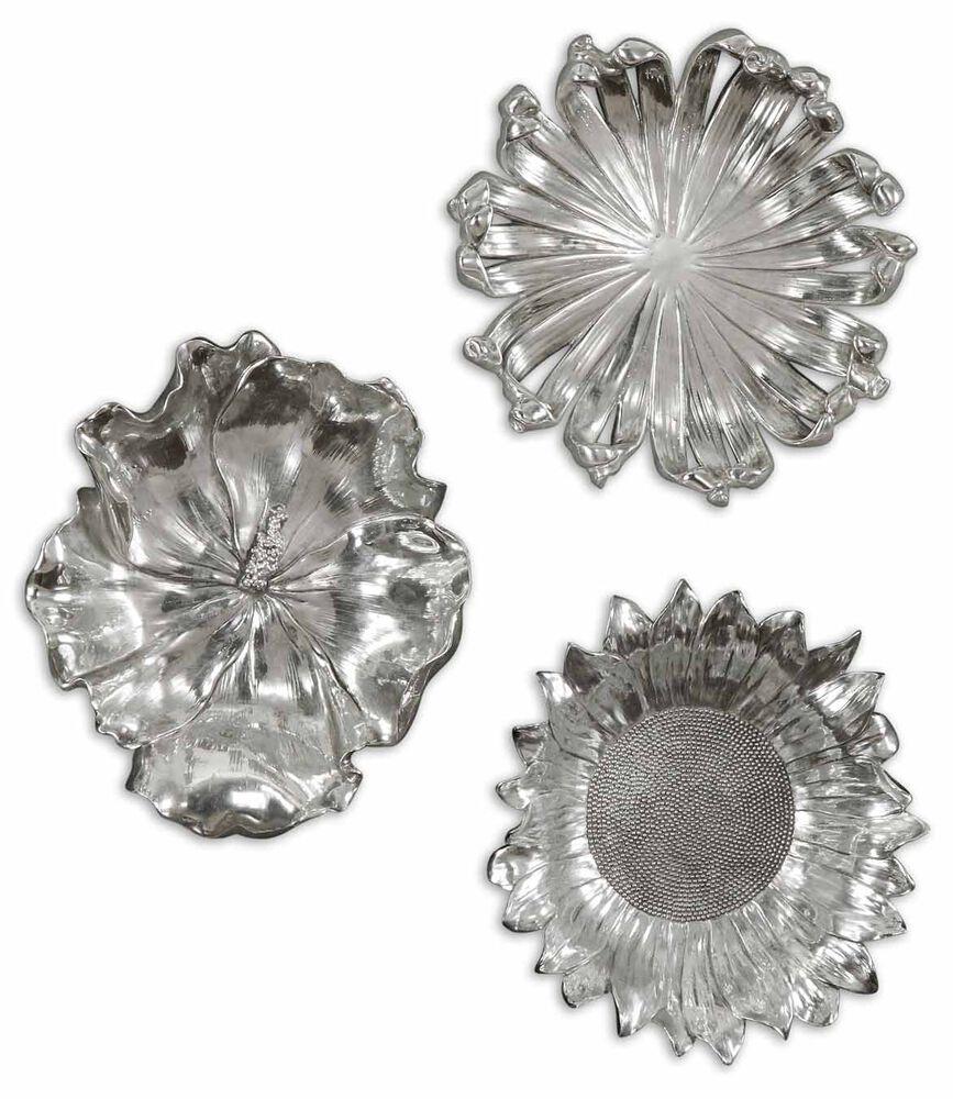 Three-Piece Flowers Wall Art in Silver