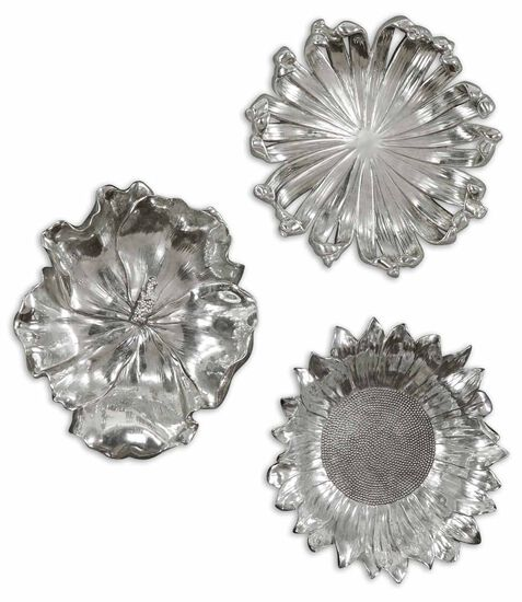 Three-Piece Flowers Wall Art in Silver
