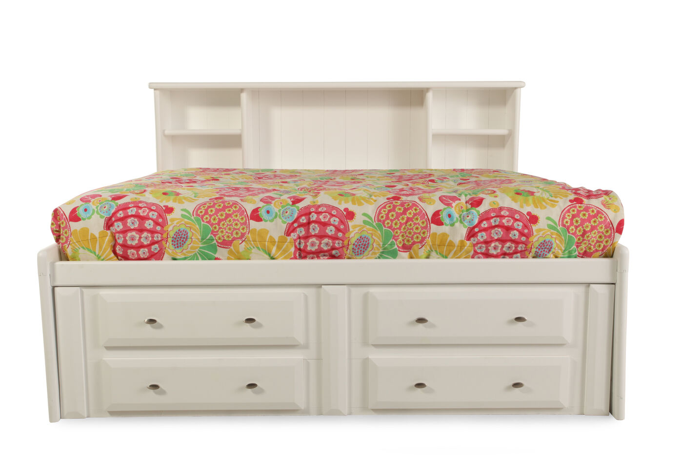 solid pine youth bookcase bed with storage drawers in white mathis brothers furniture. Black Bedroom Furniture Sets. Home Design Ideas